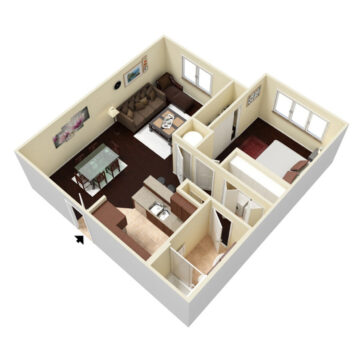 Rendering of the 1 Bedroom 1 Bath floor plan layout