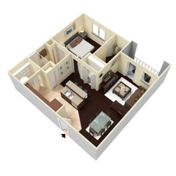 Rendering of the 1 Bedroom 1 Bath - Deluxe floor plan layout