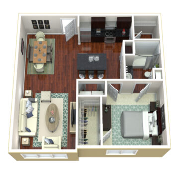 Rendering of the 1 Bedroom 1 Bath Deluxe SR floor plan layout