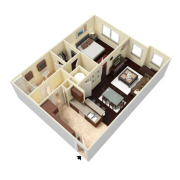 Rendering of the 1 Bedroom - Carriage floor plan layout