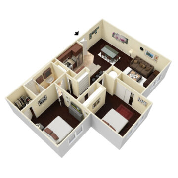 Rendering of the 2 Bedroom - 1 Bath floor plan layout