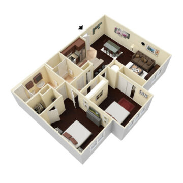 Rendering of the 2 Bedroom - 2 Bath floor plan layout