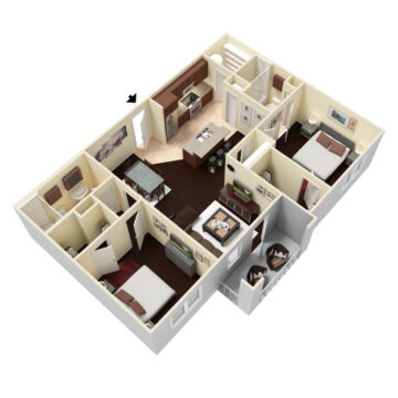 Rendering of the 2 Bedroom 2 Bath - Deluxe floor plan layout