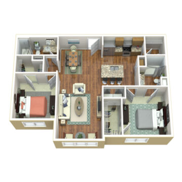 Rendering of the 2 Bedroom 2 Bath Deluxe SR floor plan layout