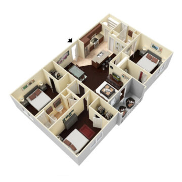 Rendering of the 3 Bedroom - 2 Bath floor plan layout