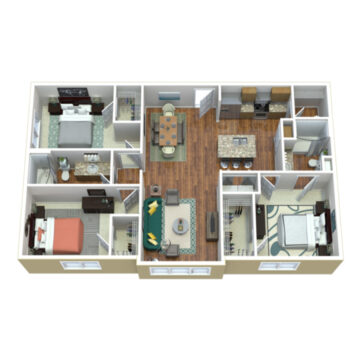 Rendering of the 3 Bedroom 2 Bath SR floor plan layout